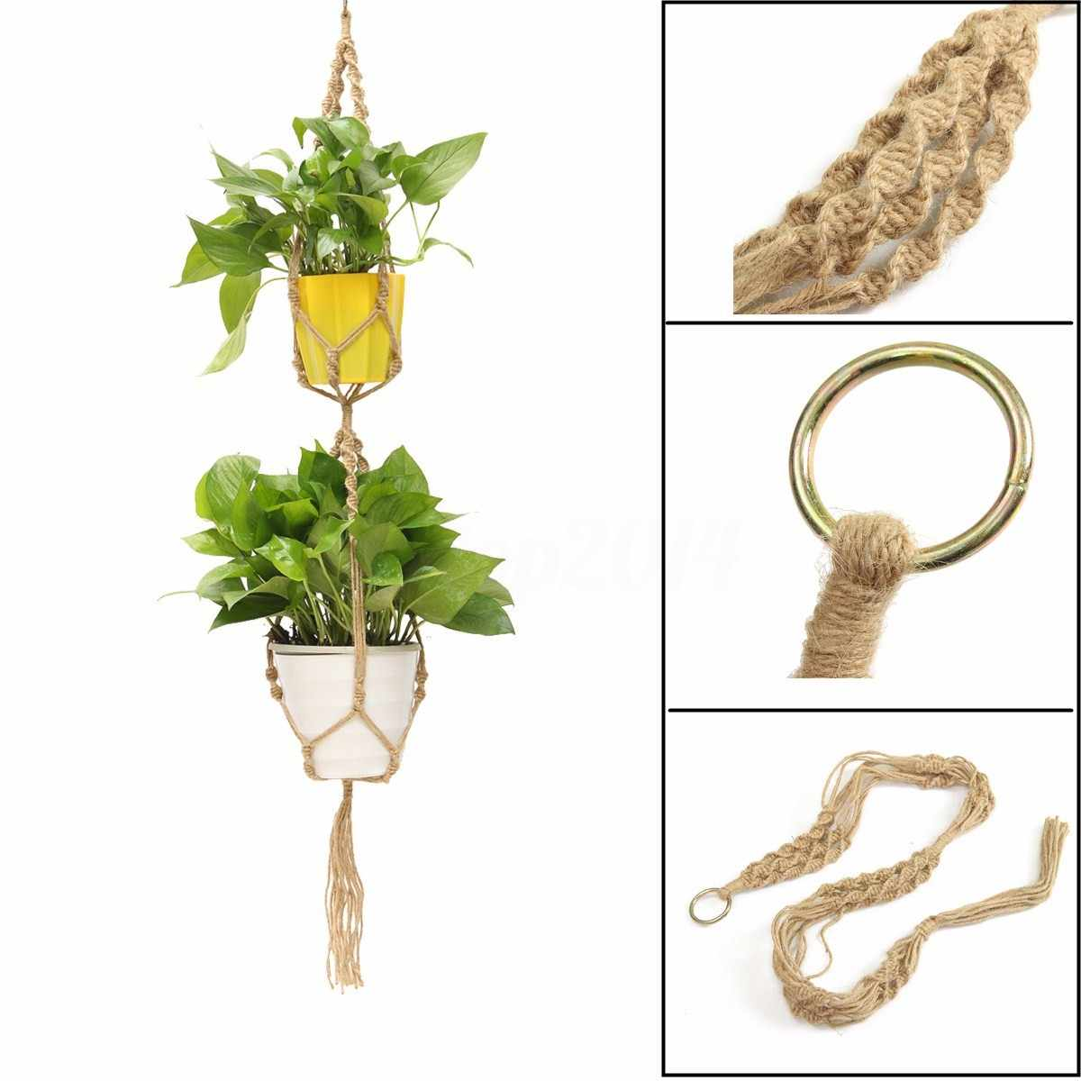 Detail Feedback Questions About Beige Double Macrame Plant Hanger 2