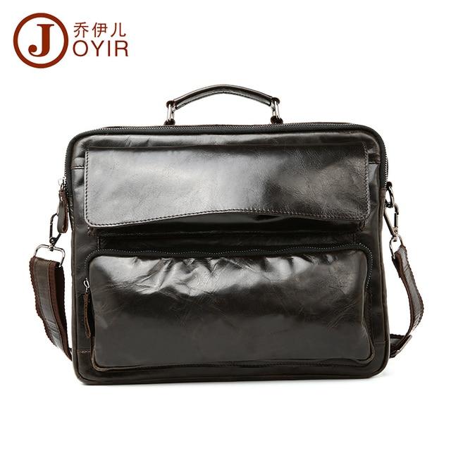 JOYIR men's briefcase crazy horse genuine leather men's business bag vintage messenger shoulder bag for male men briefcase 8795