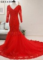 Czerwone Koronkowe Aplikacje Prom Dresses 3/4 Długie Rękawy Syrenka Wieczór sukienka 2018 Sexy V Neck Gorset Sąd Pociąg Kobiety Party suknie