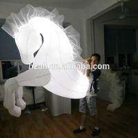 White LED Inflatable Horse Costume For Parade