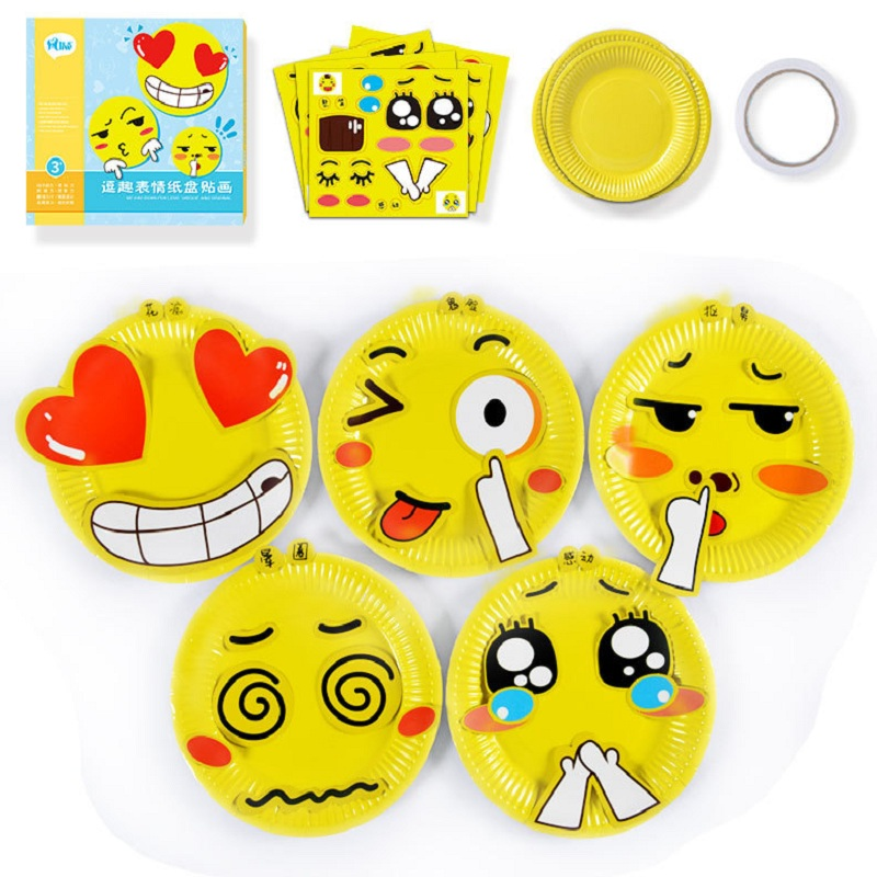 10pcs Children Cute  Facial Expression Paper Plate With Double Faced Adhesive Tape And Stickers/Kids Art Craft Educational Toys