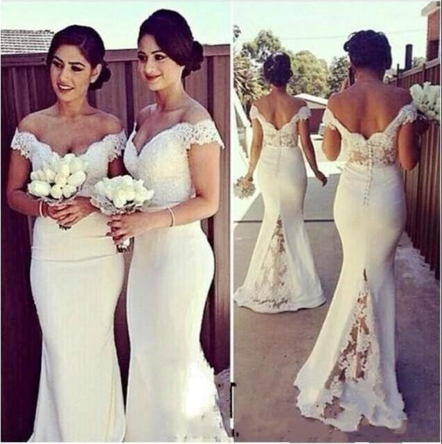 Ivory Mermaid Long Bridesmaid Dresses Off the Shoulder Lace Appliques Country  Rustic Bridesmaid Robes Custom Made New c517a8ac0f52