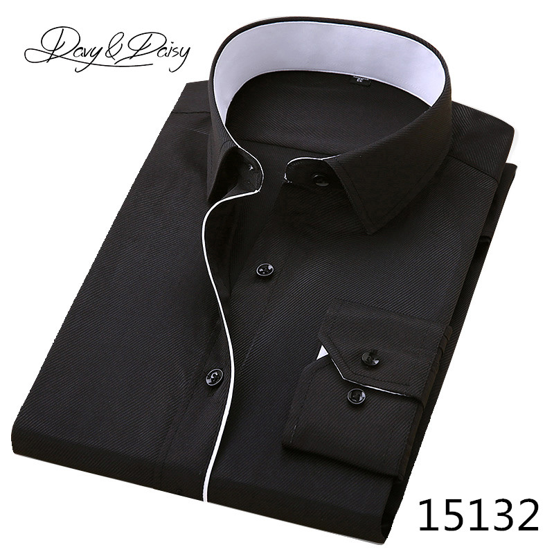 DAVYDAISY High Quality Men Shirt Long Sleeve Twill Solid Formal Business Shirt Brand Man Dress Shirts DS085 9