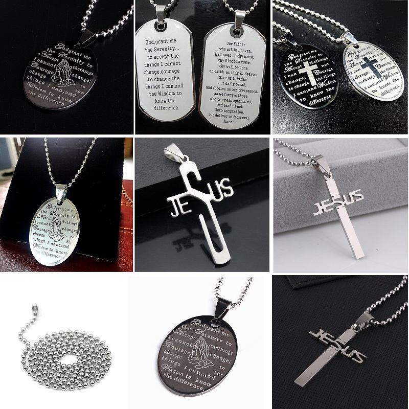 Wholesale lots 50pcs English Words steel Lord s and the serenity prayer pendant chain necklace choker