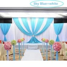 New 3pcs lot 1pcs 4 3m 2pcs 2 2m Luxury Wedding Backdrop with Swag Ice Silk
