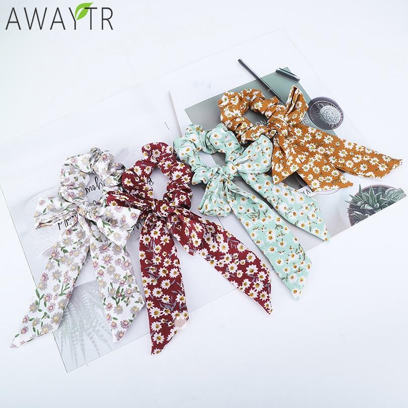 AWAYT Women Tiara Satin Ribbon Bow Hair Band Rope Scrunchie Ponytail Holder Gum For Hair Accessories Hairstyle Girl Headbands