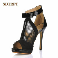SDTRFT Narrow Band Black Pumps summer sexy 12cm thin heels T Strap sandals wedding shoes woman Mujer Sandalias US9 10 11 12