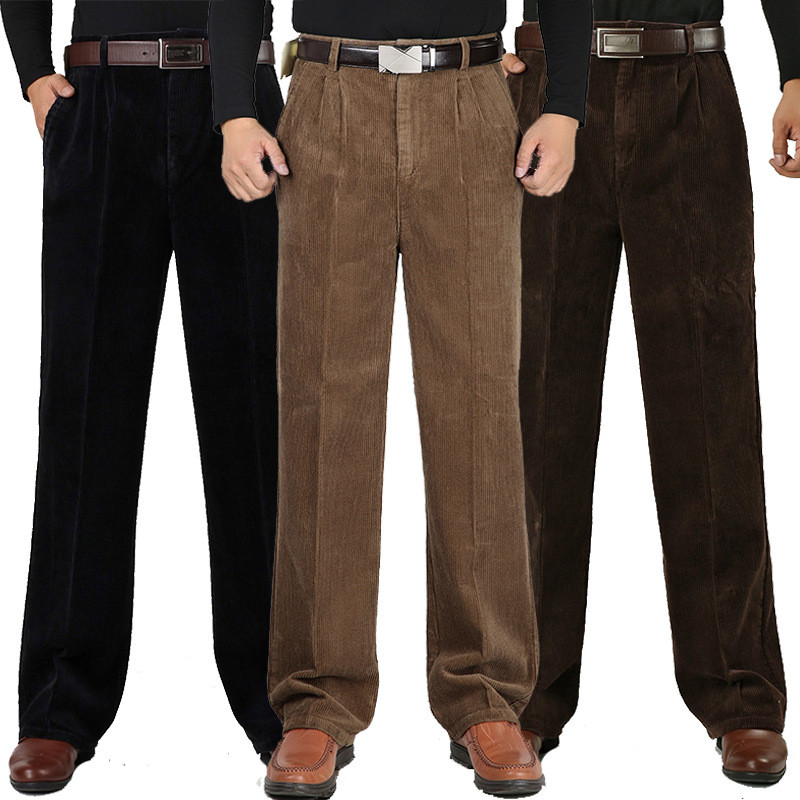 Winter Men's Thick Corduroy Casual Pants Men's Cotton Corduroy Double Pleated High Waist Loose Thick Trousers Size 30-42 44 46