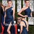 Navy Blue Beauty Golden Globe Award Red Carpet One Shoulder Celebrity Dress Evening Dresses Spilt Free Shipping HE58