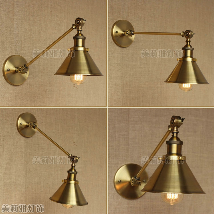 Modern Vintage Loft Adjustable Industrial Metal Wall Light Retro Swing Arm Brass Wall Lamp Country Style Sconce Lamp Fixtures Lamps & Shades Lights & Lighting