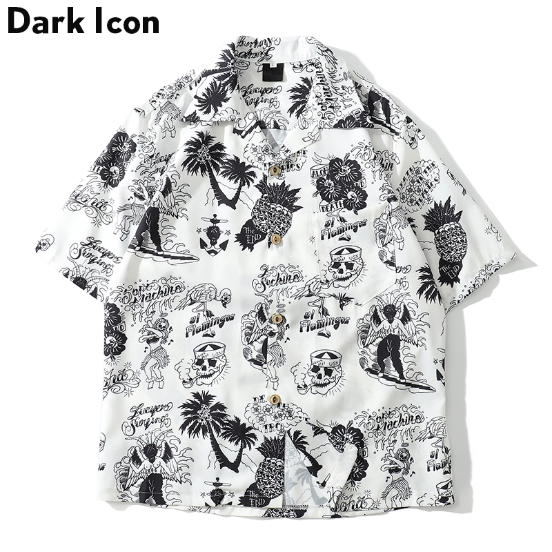 Dark Icon Skeleton Full Printed Retro Shirt Men 2019 Summer Street Men's Shirts Short Sleeved Shirts For Men Green White