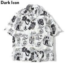 Dark Icon Skeleton Full Printed Retro Shirt Men 2019 Summer Street Mens Shirts Short Sleeved for Green White