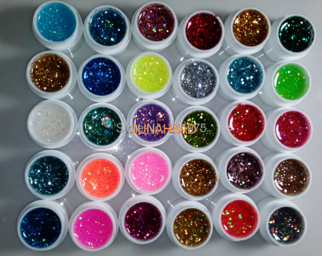 New 30Pcs Mix Color Glitter Hexagon Sheet Nail Art UV Builder Gel for False Tip Set