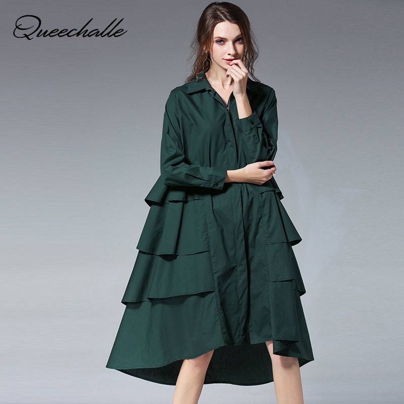 Queechalle 3XL 4XL Plus Size Loose Shirt Dress Ruffles Solid Turn down Collar Long Sleeve A