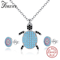 Trendy 925 Sterling Silver Blue Eye Women Jewelry Sets Elegant Crystal Jewelry Fashion Animal Sea Turtle Necklace Sets For Women