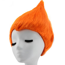 Hair Cap+ Troll Poppy Dress Orange Costume Synthetic Cosplay Wig For Kids Adults Party Supplies(China)