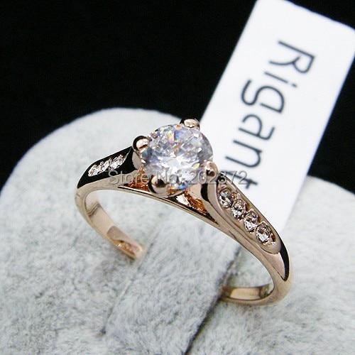 6 Piece Lot Ol 18k Rose Gold Plated Zircon Wedding Rings Finger