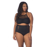 4XL Büyük Boy Bikini Set Kadınlar Seksi Artı Boyutu Mayo büyük Yüksek Bel mayo siyah Mayo Net iplik Monokini boy
