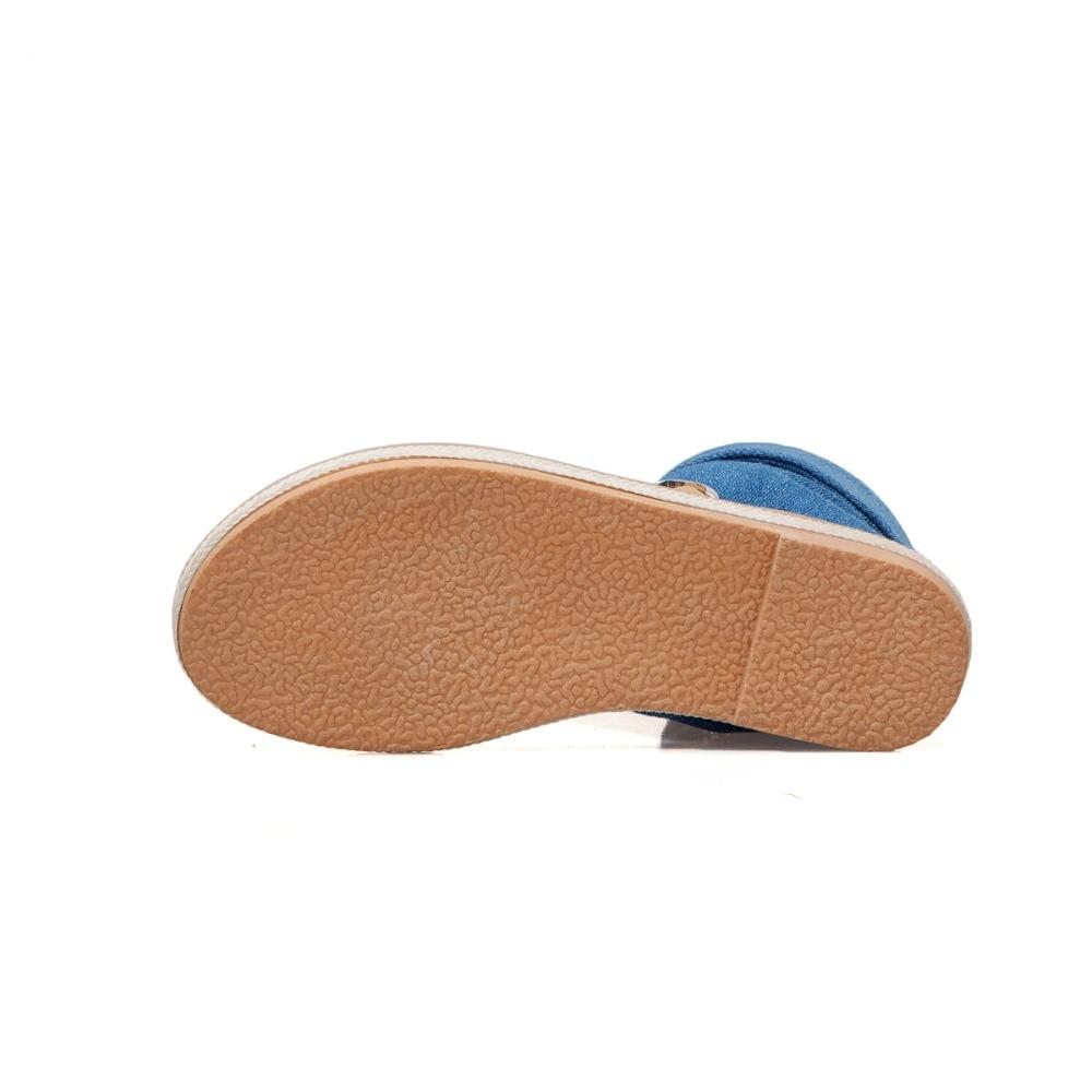 HTB1MSDtLzDpK1RjSZFrq6y78VXay CDPUNDARI Ladies Denim Flat sandals for women Platform Sandals summer shoes woman Gladiator Sandals sandalias mujer 2019