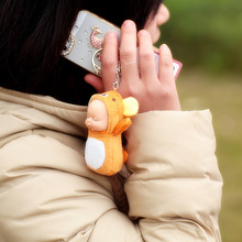 2017 Fashion Kawaii Totoro Plush Keychain Pompom Sleeping Baby Doll Key Chain Rings For Women Bag