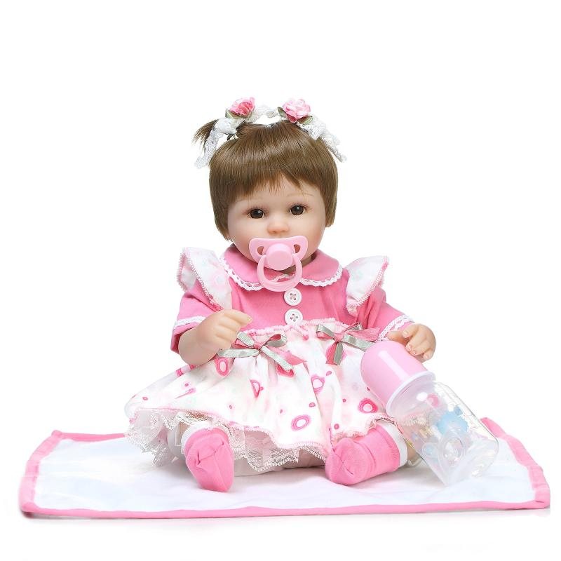 Nicery 16-18inch 40-45cm Bebe Doll Reborn Soft Silicone Boy Girl Toy Reborn Baby Doll Gift for Child Pink White Flowers Dress nicery 18inch 45cm reborn baby doll magnetic mouth soft silicone lifelike girl toy gift for children christmas pink hat close