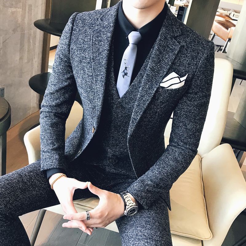 Mens Tweed Suit 2019  England Man Black Grey Autumn Winter Wedding Suit Men Complete Set Dress