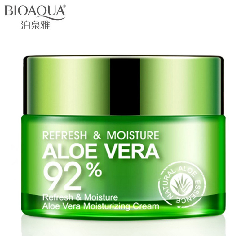 BIOAQUA Aloe Vera Gel Face Cream Whitening Deep Hydrating Moisturizing Face Cream Anti Wrinkle Anti-Aging Day Cream 50g bioaqua brand skin care men deep moisturizing oil control face cream hydrating anti aging anti wrinkle whitening day cream 50g