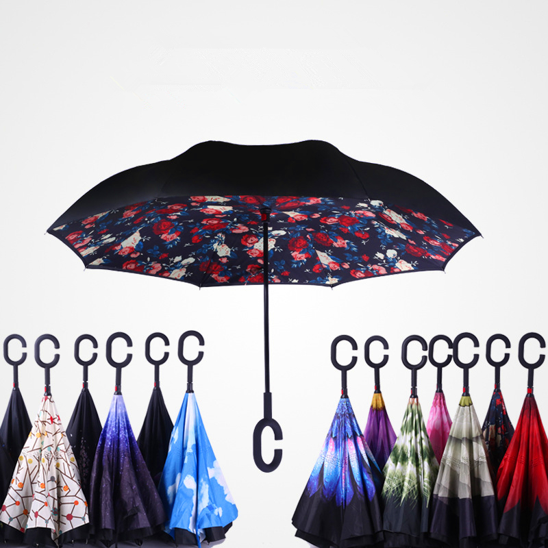 2017 new arrival creative C-Hook handle reverse folding double layer  windproof rainy sunny umbrella fishing car cane gift women 8b8ecff18a