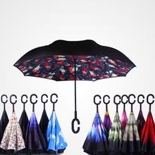 2017 new arrival creative C Hook handle reverse folding double layer windproof rainy sunny umbrella font