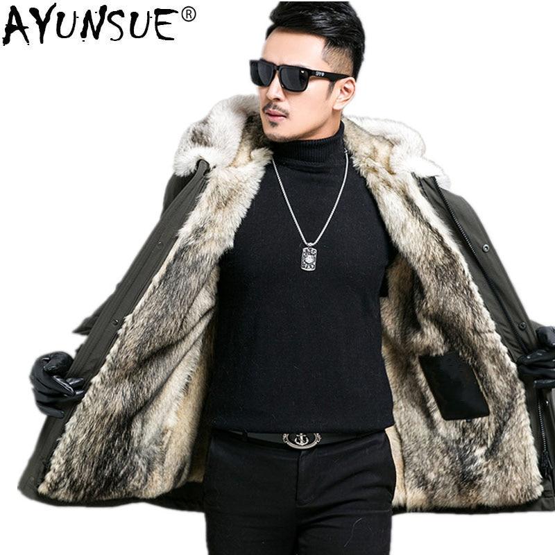 e216fb839b69 AYUNSUE Parka Men Real Fur Coat Winter Jacket Men Real Wolf Fur Liner Long  Coats Plus Size Jackets 4xl 5xl Parka Homme MY1208