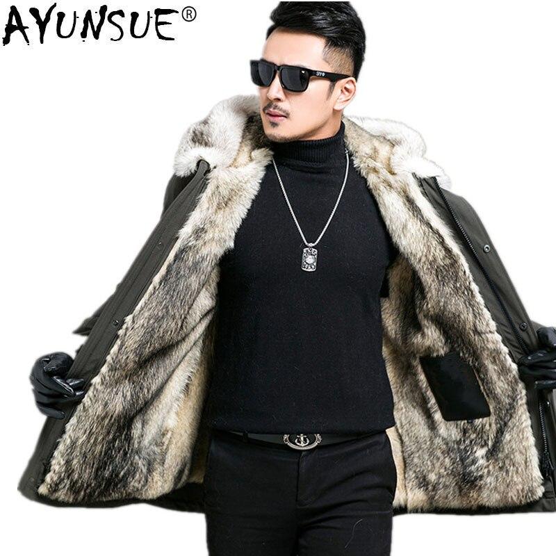 AYUNSUE Parka hombres Real piel abrigo invierno chaqueta hombres Real Lobo piel forro abrigos largos más tamaño chaquetas 4xl 5xl Parka Homme MY1208