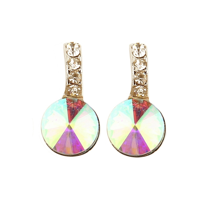 1 Pair Delicate Stylish Stud Earrings Chic Round Crystal Jewellery Gift For Women Las