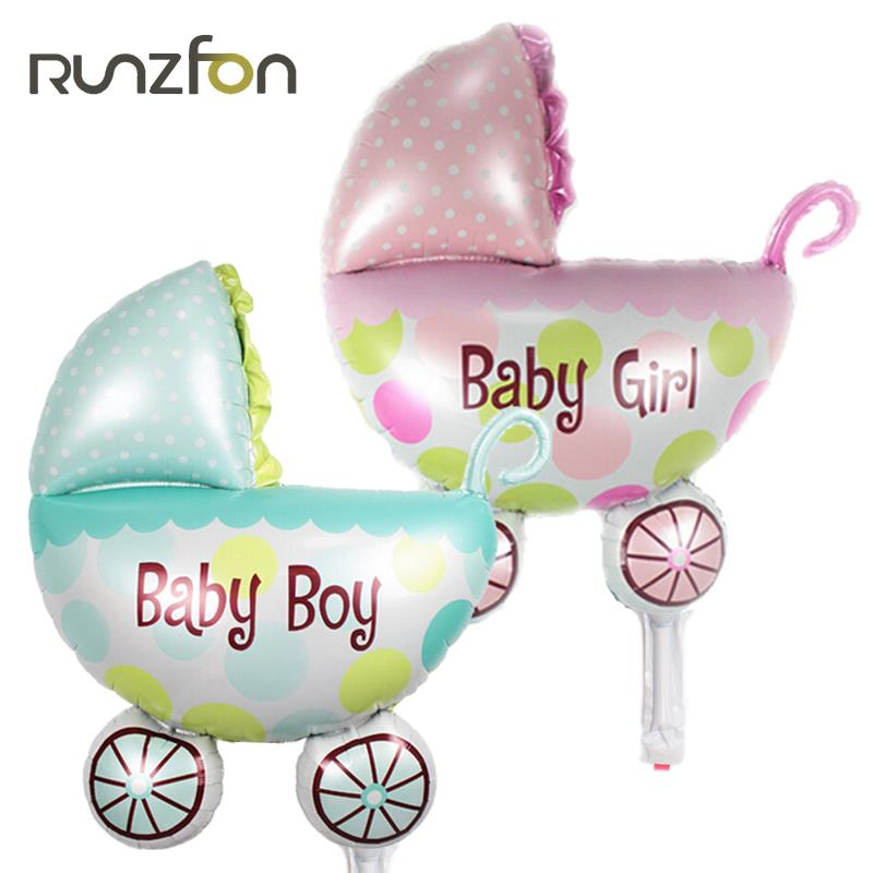 10pcs lot lovely cartoon helium balloons baby stroller for Baby full moon party decoration