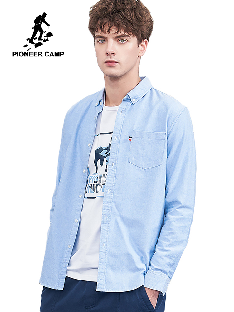 Pioneer Camp New Long Sleeve Shirts Men Brand Clothing Solid Basic Casual Shirt Male Pure Cotton Slim Fit Autumn Shirt ACC801458