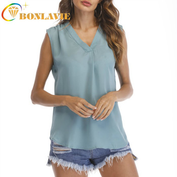 Summer Women Blouse V-collar Sleeveless Shirt Loose Pleated Chiffon Vest 9 Colors Solid White Pink Gray Black Long Length Shirts - discount item  26% OFF Blouses & Shirts