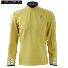 2016 Star Trek Beyond Sulu Kirk Cosplay Costume Commander Uniform Yellow Shirt Jacket Free Badge Halloween Top For Man
