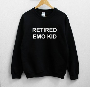 Sugarbaby Retired Emo Kid Unisex Sweatshirt Long Sleeve Fashion Casual Tops Crew Neck Unisex Fashion Sweatshirt Drop ship crew neck crop sweatshirt