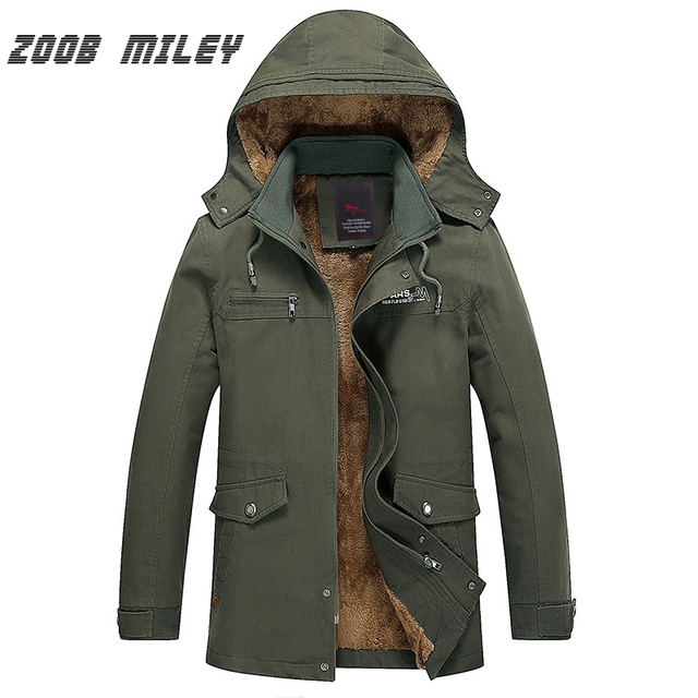 ZOOB MILEY Plus Size M-5XL Winter Jackets Men Warm Thick Fleece Hooded Parkas Loose Fit Hat Detachable Long Trench Overcoat