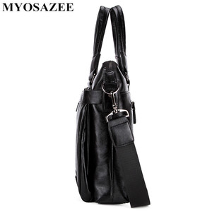 Image 4 - MYOSAZEE célèbre marque hommes mode Simple affaires porte documents sac mâle en cuir pour ordinateur portable sac décontracté hommes voyage sacs épaule