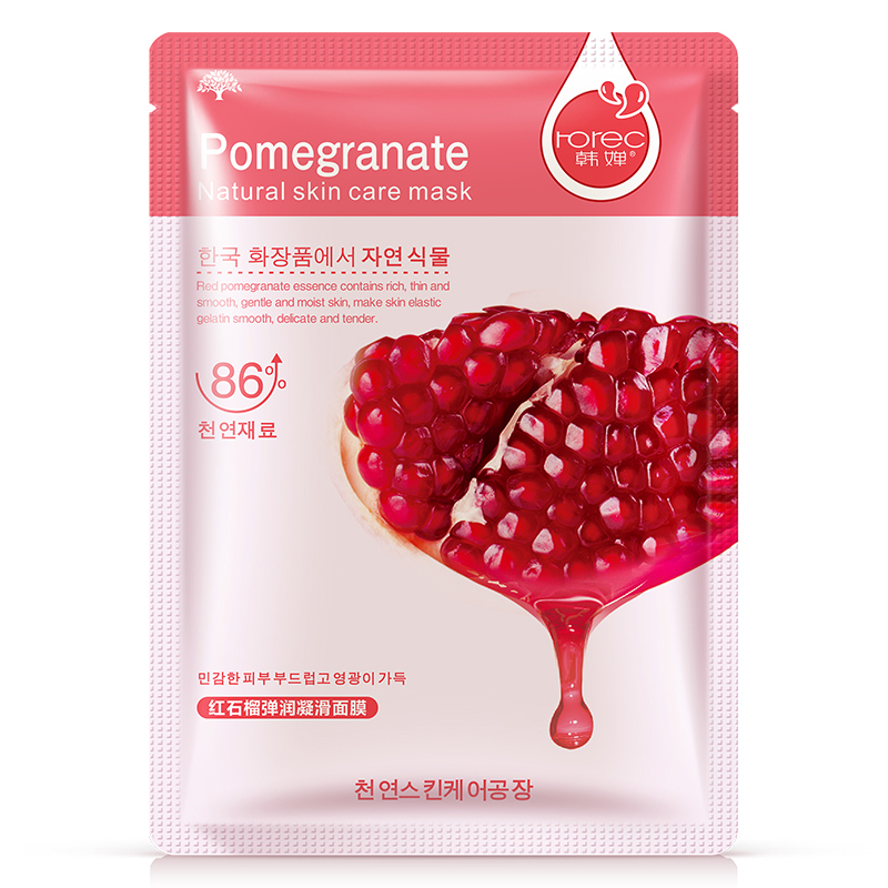 HANCHAN Natural Pomegranate Extract Face Mask Moisturizing Recover Skin elasticity Brightening Face Care