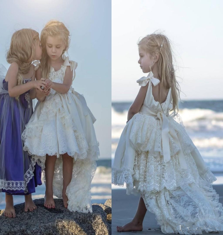High Low Flower Girls Dresses Ivory For Wedding Layers Lace Ribbon ...