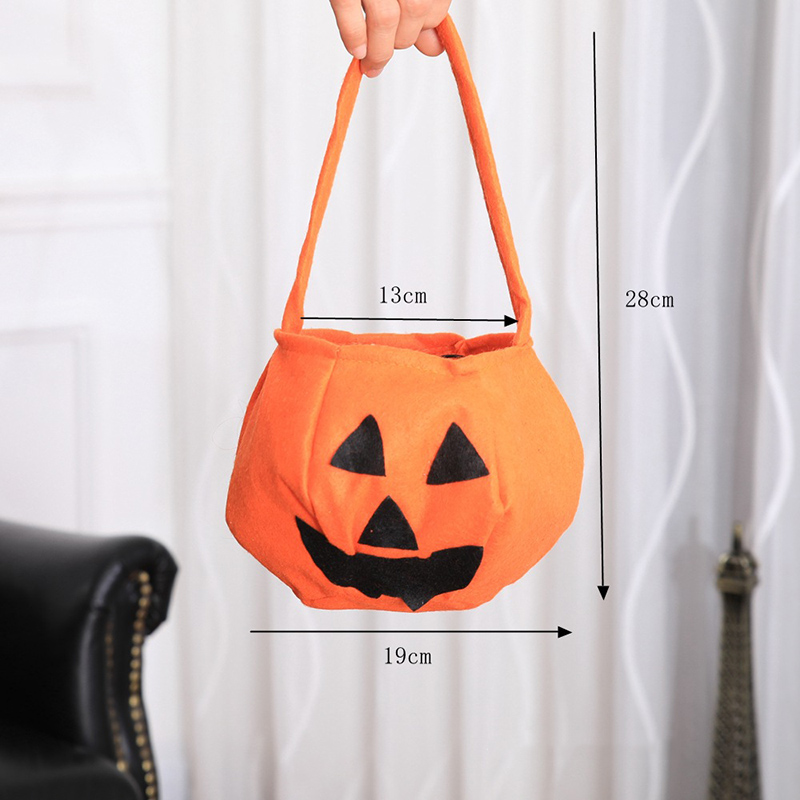 Halloween Candy Bag Pumpkin Bat Pattern Kids Treat or Tricky Cloth Bucket Handheld Tote Props Cookie Pouch Basket Gift in Gift Bags Wrapping Supplies from Home Garden