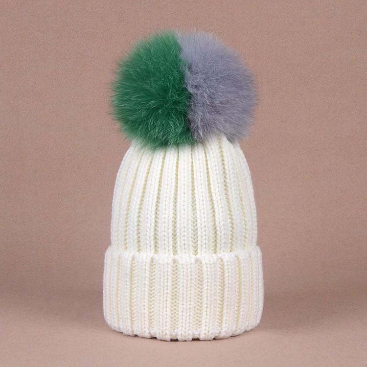 3d9448f9332 New Fall Winter Beanies Caps Fashion Stitching Color Pom pom Fox Fur ...