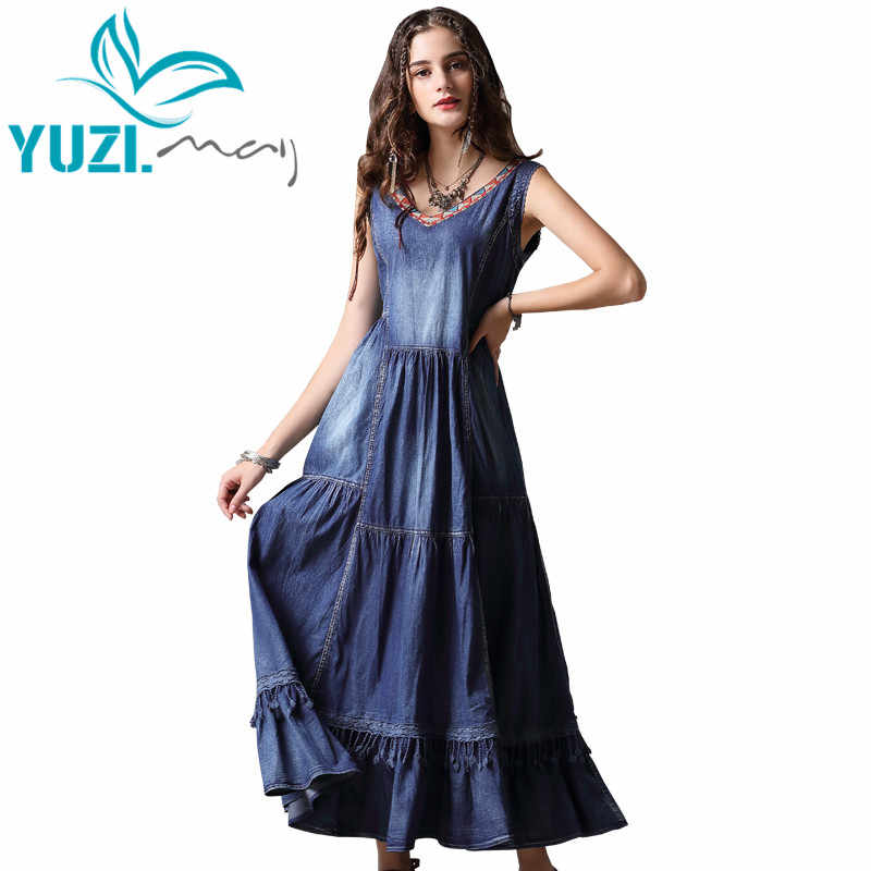 938a4c426b41e Summer Dress 2018 Yuzi.may Boho New Vintage Denim Vestidos V-Neck  Sleeveless Lace Swing Hem Maxi Sundress A82091 Dresses Femal