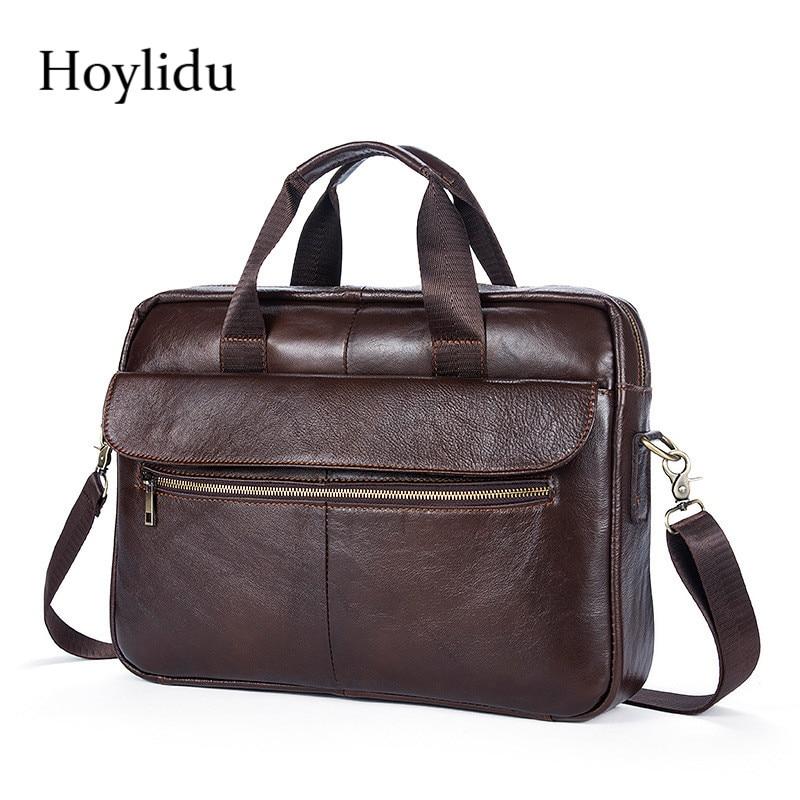 New Genuine Leather Men's Business Briefcase Vintage Casual Solid Handbag Travel Large Capacity Shoulder Bags Male Messenger Bag все цены