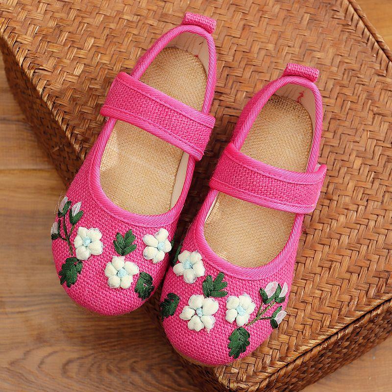 Filles chaussures fleur broderie enfants chaussures chinois tissu traditionnel enfants chaussures princesse chaussures de danse 100459 - 4