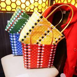 Designer Bamboo Straw Bags for Women Colorful Woven Wicker Women's Handbags Rattan Ladies Totes Large Capacity Summer Beach Bags