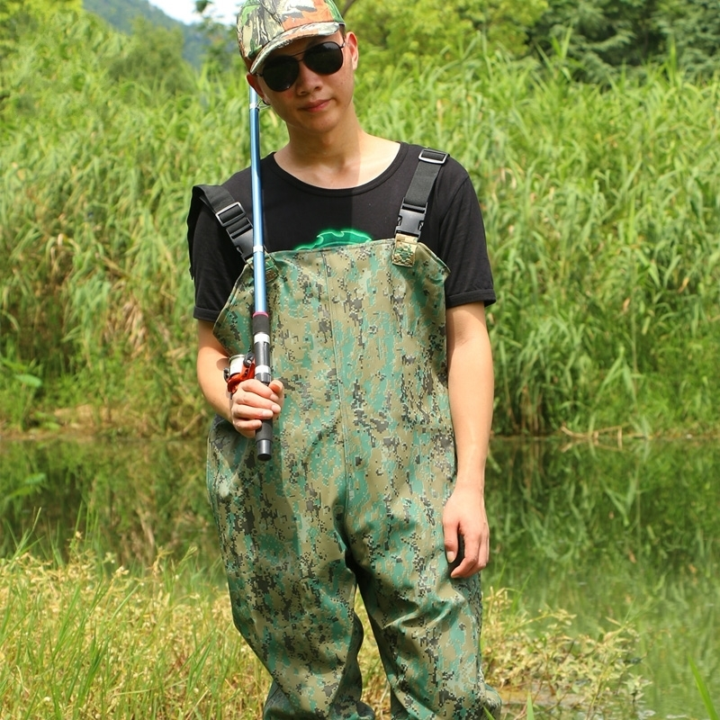 Outdoor breathable chest long camo wading pants boot waterproof rubber men women fishing waders boots shoes jumpsuit trousers drawstring spliced camo jogger pants