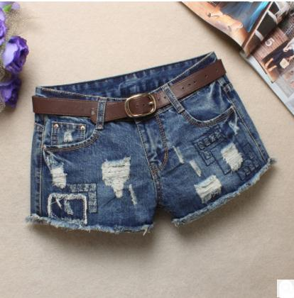 New Summer Womens Ripped Casual Denim   Shorts   Female Hole Jeans Cowboy   Short   Light Blue Pantalon Corto Mujer Without Belt J2433