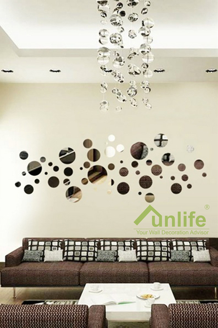 Nice sticker Bubble Round Reflective Chrome Mirror-like Wall Stickers  Acrylic Decal DIY Headboard Art